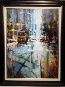 """San Francisco Cable Car Crossing Original Oil on Canvas Artist: Jarvis 46"""" x 69"""" #21250"""