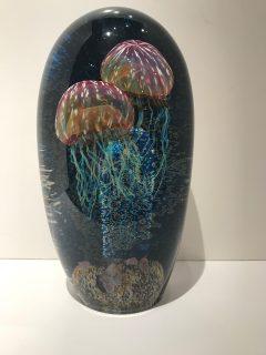 "Ruby Gold Double Seascape Jellyfish Artist: Satava 12"""