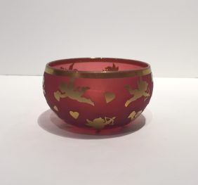 """Small Red and Gold Glass Bowl Artist: Correia #18426 6"""" x 6"""" x 3.5"""" Price: $750.00 REDUCED: $250.00"""