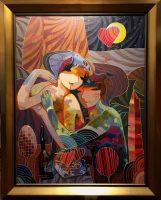 Velvet Caresses, Original Acrylic on Canvas, Artist: Tadeo 40x30, F 48.75x38.75