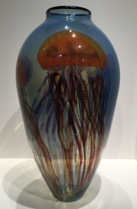 Pacific Coast Jellyfish Vase, Glass Artist: Richard Satava 20 x 11 x 11
