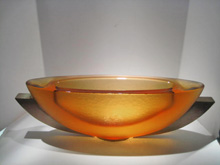 Amber Ribbed Bowl, Cast Glass, Artist: George Bucquet 9 x 27 x 6 18142