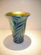 Cobalt Zebra Vase, Medium: Hand Blown Glass, Artist: Lundberg Studios 11x8.25x8.25 19588