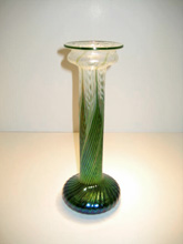 White Green Fern Vase, Medium: Hand Blown Glass, Artist: Lundberg Studios 10.5x4x4 19590