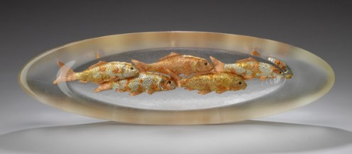 """Clear Oval Fish Bowl, Hot Cast Glass with Copper and Metal Leaf Artist: George Bucquet 30"""" x 9"""" x 3.5"""""""