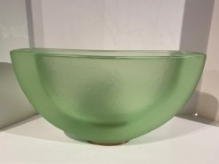 """Green Moon Bowl Artist: George Bucquet Hot Cast Glass with Copper #21775 6.5"""" x 19.5"""" x 10"""" Price: $5,500.00 REDUCED: $3,500.00"""