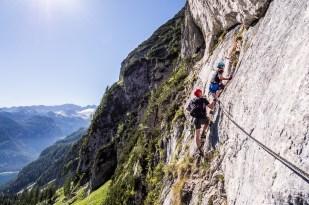 Kousek za nástupem na Donnerkogel Intersport Klettersteig