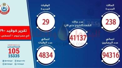Photo of عاجل.. وزارة الصحة تعلن انخفاض أعداد الاصابة بكورونا ل 238 حالة