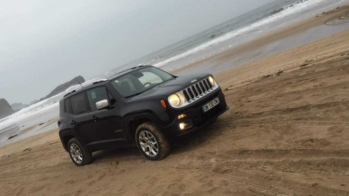 Jeep Renegade on the beach