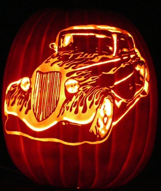 hot rod pumpkin car carving