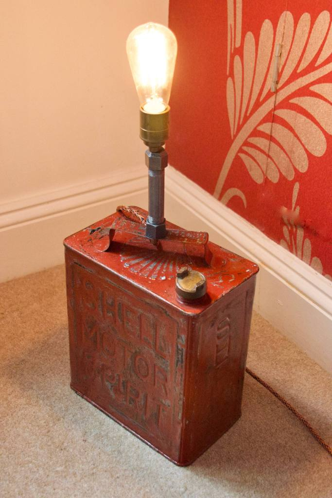 Vintage Shell Petrol Can Lamp
