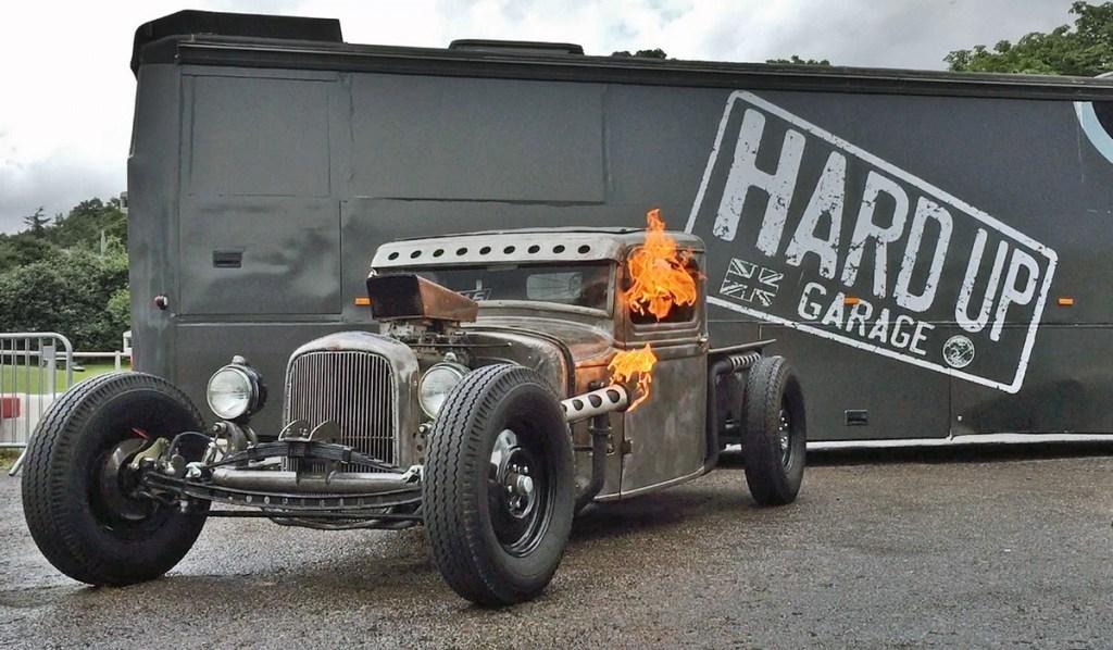 Hard up garage flaming hot rod