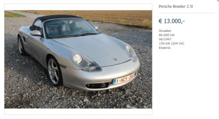 Porsche Boxster 2.5i d'occasion, Essence, € 13.000,- à Florennes