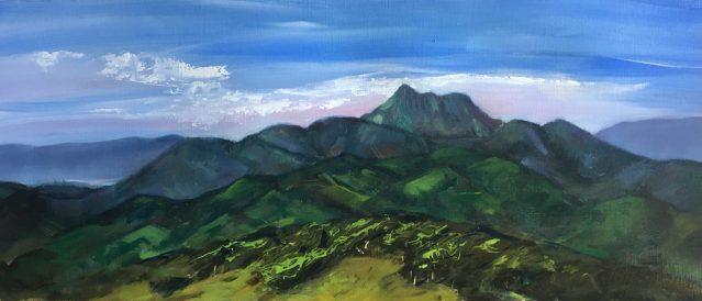 PETRONELLA M VAN LEUSDEN - pastel painting of Wollumbin