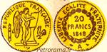 Gravure 20 francs or génie deuxième république