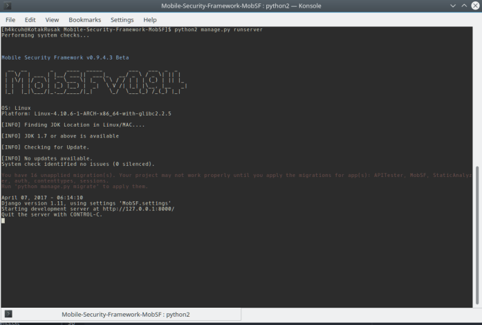 MobSF runserver
