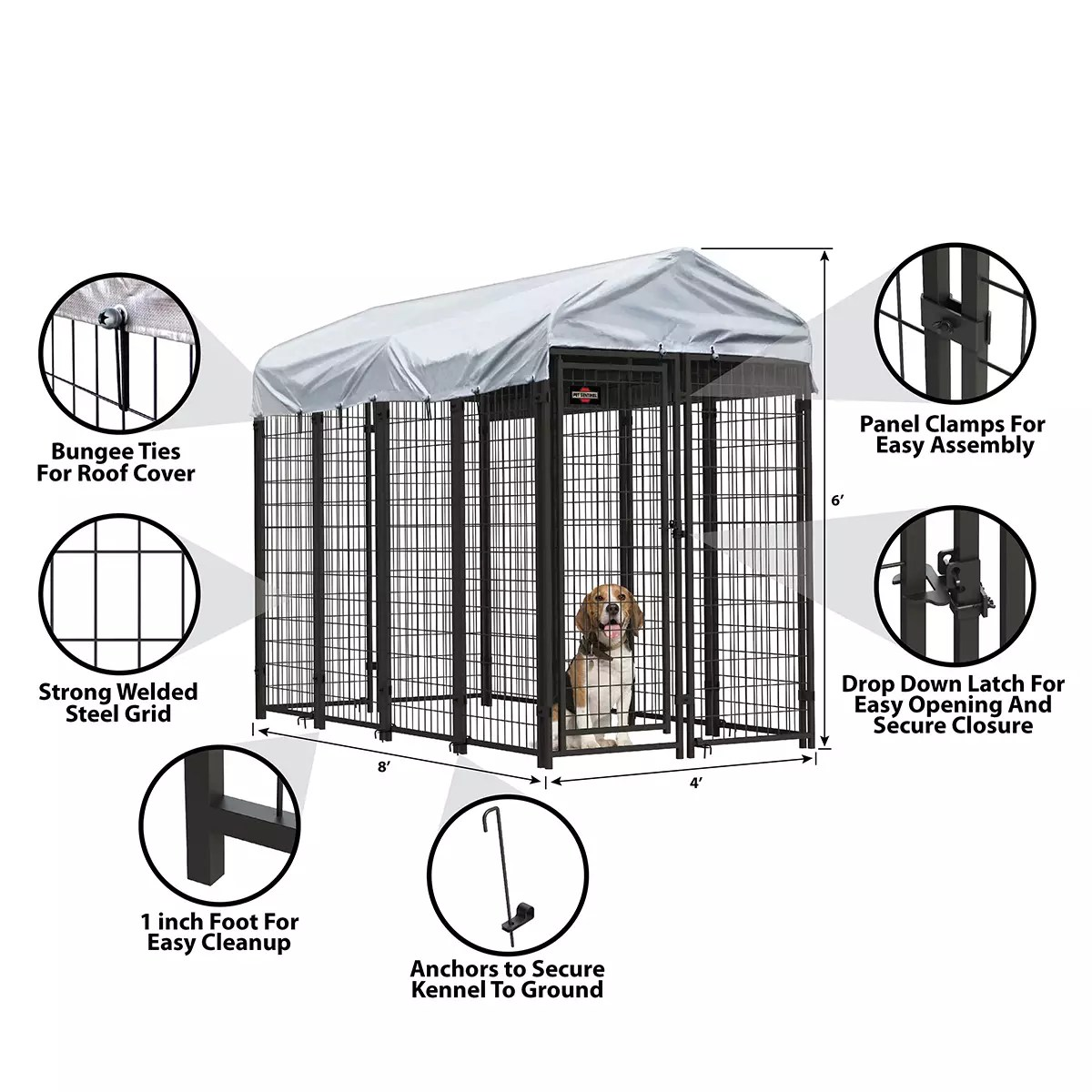 6ft H X 4ft W X 8ft D Welded Steel Kennel Kit
