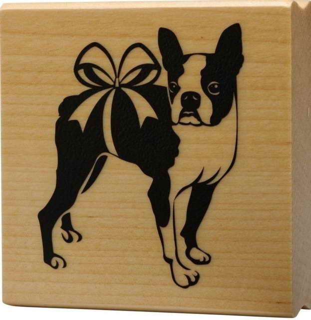 Boston Terrier Rubber Stamp