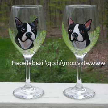 Boston Terrier Wine Glass
