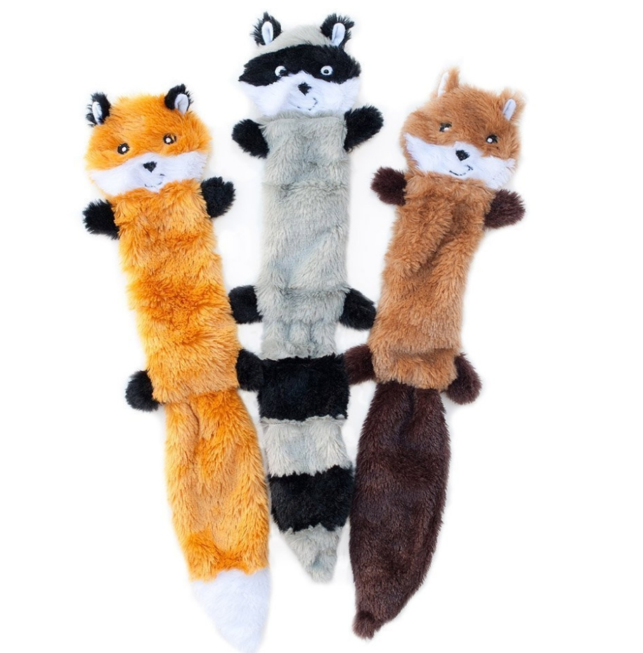 ZippyPaws Skinny Peltz No Stuffing Squeaky Plush Dog Toy - Fox, Raccoon, and Squirrel