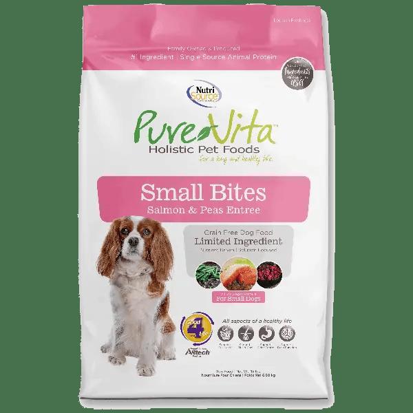 Pure Vita Dog Dry Small Bite Grain Free Salmon & Peas 15lb ...