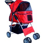 New-Deluxe-Folding-4-Wheel-Pet-Dog-Cat-Stroller-Carrier-w-Cup-Holder-Tray-Red-0