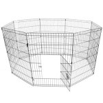 ALEKO-SDK-24B-Heavy-Duty-Pet-Playpen-Dog-Kennel-Pen-Exercise-Cage-Fence-8-Panel-24-x-24-Inches-Black-0-0