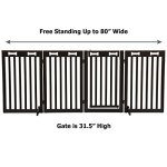 Arf-Pets-Free-Standing-Wood-Dog-Gate-with-Walk-Through-Door-Expands-Up-to-80-Wide-315-High-Bonus-Set-of-Foot-Supporters-Included-Upgraded-2019-Stronger-Model-0-1