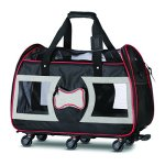 WPS-Airline-Approved-Pet-Carrier-with-Wheels-for-Small-Dogs-and-Cats-Removable-Fleece-Bed-Soft-Sided-Mesh-Windows-Leash-Clip-Handle-Carrying-Strap-Bone-Design–11x22x16-0-1