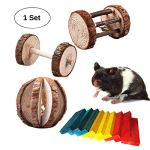 BWOGUE-Hamster-Chew-ToysNatural-Wooden-Dumbells-Unicycle-Barrel-Roller-Ball-with-Bell-for-Birds-Rabbits-Hamster-Rat-Playing-Chewing-0