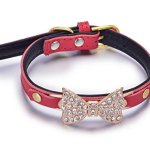 Benala-Geniune-Leather-Bling-Rhinestone-Butterfly-Metal-Buckle-Cute-Bowknot-Real-Leather-Dog-Puppy-Collar-0