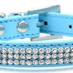 Bling-Rhinestone-Dog-Pet-Cat-Puppy-Pu-Leather-Collar-Crystal-Diamonds-size-S-M-0