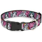Buckle-Down-Princess-Sketch-PosesFloral-Collage-PinksGrays-Disney-Breakaway-Plastic-Clip-Collar-Narrow-Large-0
