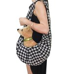 Calunce-Adjustable-Shoulder-Strap-Plaid-Design-Reversible-Pet-Sling-Carrier-Bag-Soft-and-Comfortable-Cotton-for-little-DagCat-UP-to-115-lbs-0-0