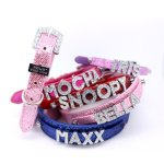 HOWS-YOUR-DOG-Fab-Glitter-Name-Me-Personalized-Collar-for-Dogs-and-Cats-Free-Swarovski-Crystal-Letters-included-Pearl-Pink-0-1