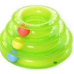 JUMUU-Cat-Kitty-Interactive-Three-Levers-Pet-Toy-Amusement-Plate-Crazy-Ball-Disk-Cat-Scratching-Ball-Toy-0