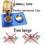 MCBInfinity-Small-Dog-Bowls-Set-Newly-Redesigned-RECTANGLE-Catch-All-NonSkid-No-Spill-Silicone-Mat-2x12oz-Stainless-Steel-Bowl-BONUS-Pet-Food-Scoop-Collapsible-Bowl-Best-For-PuppySmall-Dogs-Cats-0-0
