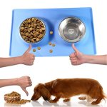 MCBInfinity-Small-Dog-Bowls-Set-Newly-Redesigned-RECTANGLE-Catch-All-NonSkid-No-Spill-Silicone-Mat-2x12oz-Stainless-Steel-Bowl-BONUS-Pet-Food-Scoop-Collapsible-Bowl-Best-For-PuppySmall-Dogs-Cats-0-1