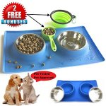 MCBInfinity-Small-Dog-Bowls-Set-Newly-Redesigned-RECTANGLE-Catch-All-NonSkid-No-Spill-Silicone-Mat-2x12oz-Stainless-Steel-Bowl-BONUS-Pet-Food-Scoop-Collapsible-Bowl-Best-For-PuppySmall-Dogs-Cats-0