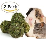 SZBOYU-Natural-Woven-Timothy-Grass-Ball-Small-Pets-Chew-Toy-for-Rabbits-Guinea-Pigs-Chinchillas-Hamsters-2-Pack-0