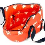 Soft-Pet-Carrier-BAG-Comfort-Tote-Plush-Red-w-White-Paw-Prints-Hobo-Bag-0-2