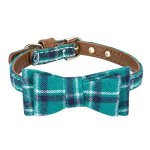 StrawberryEC-Extra-Small-Dog-and-Cat-Collar-with-Cute-Plaid-Bowtie-Adjustable-5-Holes-to-Also-Fit-Puppy-and-Kitten-Quality-PU-Leather-and-Durable-Polyester-0