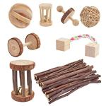 Wobe-Pack-of-8-Guinea-Pig-Toys-Chinchilla-Hamster-Rat-Toys-Bunny-Rabbits-Gerbil-Molar-Wooden-Natural-Wooden-Pine-Dumbells-Exercise-Bell-Roller-Fun-Pet-Balls-Small-Pets-Play-Toy-0