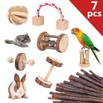 YOUTH-UNION-7-Pack-Wooden-Hamster-Chew-Toys-for-Pets-Teeth-Care-Rabbits-Rat-Small-Animal-Ball-Exercise-Playing-Bell-Roller-Pig-Toys-0