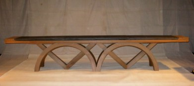 Marshall Wace Reception Area Table in oiled steam bent brown oak with Welsh slate top. Expands widthways. 22ft long.