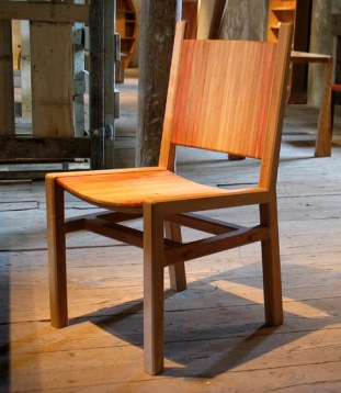 Scandia Chair in pear with washed finish. The seat and back are strung on bars for flexibility and comfort.