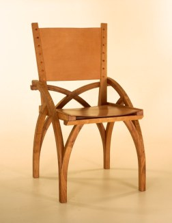 Treble Zero Chair in oak with oak bark tanned leather seat and back. Steam bent components.