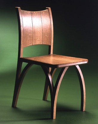 Wishbone Chair in oak, book matched seat, steam bent back with copper rivets.