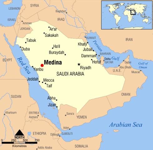 Islams ungefärliga utbredning vid Muhammeds död med moderna gränser inritade.