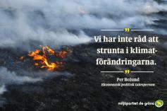 Miljöpartiet illustrerar skogsbränderna i Sverige med en bild på en gräsbrand i Australien.